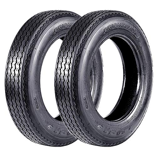 VANACC Set of 2 4.80-12 Bias Trailer Tires 6PR 480-12 4.80x12 Hightway Boat Motorcycle Tires, Load Range C
