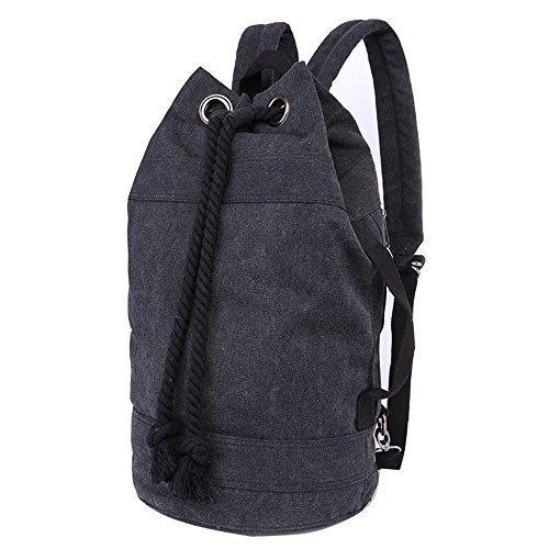 Minetom Unisex Einfarbig Zylindrisch Daypacks Backpack Rucksack Freizeitrucksack Schulrucksack Schulranzen Schultasche Schwarz Klein