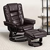 Flash Furniture BT-7818-BN-GG Contemporary Multi-Position Recliner with Horizontal Stitching and Ottoman with Swivel Mahogany Wood Base in Brown LeatherSoft
