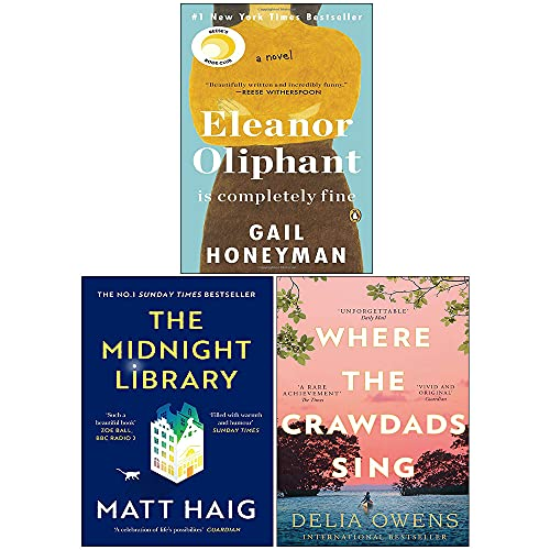 Eleanor Oliphant Is Completely Fine, The Midnight Library, Where the Crawdads Sing 3 Books Collection Set
