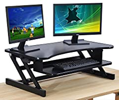 "The Desk Riser Classic is 32""W x 20""D x 6 to 16.5""H. Wide enough for dual monitor desk mount. Rated ""Best Standing Desk Converter"" by New York Magazine. 5 height settings between 6 and 16.5""H. Features a sliding keyboard tray that is 24.1""W x 10.2""D...."