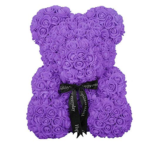 Valentine Creative Kunstmatige Rose Bear Gift Handgemaakte Cute Zeep Rozen Bear Built for Valentine's Day, Jubileum, Bruiloft, Verjaardag Classic (Color : Purple, Size : 70cm)