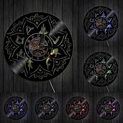 Seed of Life Lotus Wall Art Zen Ornamento Meditación Reloj de pared Relajación Yoga Focus Decoración de pared Mandala Vinilo Record Reloj de pared Luces LED