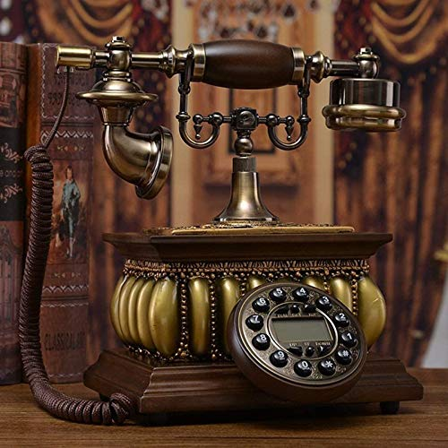 Teléfono Fijo Madera Maciza Teléfono Europeo Teléfono Retro Teléfono Fijo Hogar Teléfono Antiguo Creativo Teléfono sólido de Moda Antigua para la decoración del hogar