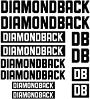 装飾デカールステッカーセットスタイリング自転車本体の車 - DIAMONDBACKダイカットデカールステッカーシート(サイクリング、マウンテンバイク、BMX、自転車、フレーム)の場合 (black)