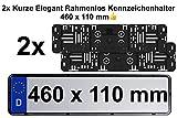 2X Stück Kennzeichenhalter Kurz Elegant Rahmenlos Für Auto Kennzeichen Mit Genau mit den Maßen...