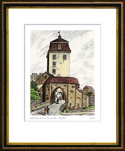 Kunstverlag Christoph Falk Handkolorierte Radierung Großenhain, Meissner Tor um 1834 im Rahmen Braun-Gold hinter Passepartout