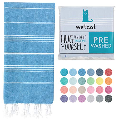 WETCAT Turkish Beach Towel (38 x 71) - Prewashed for Soft Feel, 100% Cotton - Quick Dry Towels for Bathroom with Lively Colors - Unique Travel Blanket & Travel Towel - [Blue]