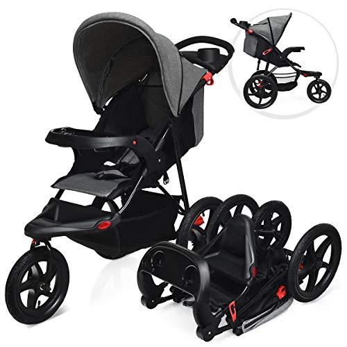 DREAMADE Dreirad Kinderwagen Klappbar, Jogger Buggy mit Liegefunktion, Sportwagen mit Sicherheitsgurt, Rückenlehne & Sonnenverdeck verstellbar, geeignet für Baby ab Geburt bis 36 Monaten(Grau)