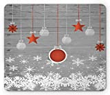 Ambesonne Christmas Mouse Pad, Traditional Celebration Theme with Pendant Stars Baubles Ornate Snowflakes, Rectangle Non-Slip Rubber Mousepad, Standard Size, Grey Orange