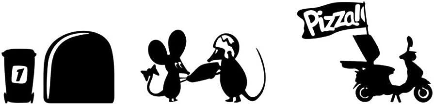 Pared Adhesivo Ratón Agujero con Repartidores de pizza, color negro