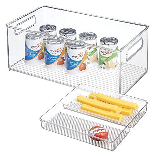 mDesign Cajas organizadoras con Asas para Nevera y despensa en 2 Piezas – Cajas de almacenaje para Fruta, verdura, Alimentos envasados o Accesorios de Cocina – Contenedores de plástico Transparente