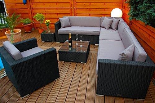 Ragnarök-Möbeldesign PolyRattan Lounge DEUTSCHE Marke - EIGNENE Produktion - 7 Jahre GARANTIE Garten Möbel incl. Glas und Polster (schwarz) Gartenmöbel