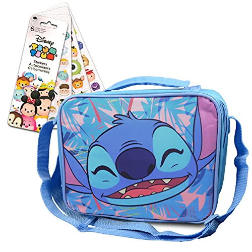 Lilo and Stitch Lunch Bag Bundle For Toddlers Kids - Lilo and Stitch Insulated Lunch Box Set With Tsum Tsum Stickers (Lilo and Stitch School Supplies)
