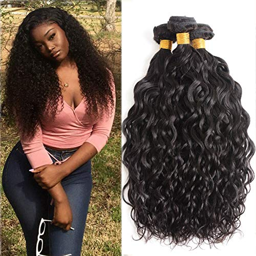 Water Wave Human Hair 3 Bundles 10 12 14 Inch 100% Unprocessed Human Hair Extensions For Women 9A Brazilian Wet and Wavy Water Curly Human Hair Bundles Natural Black Color