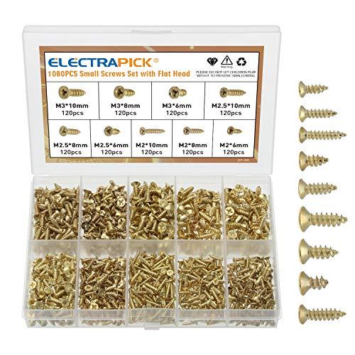 electrapick Kleine Schrauben 1080 Stücke Holzschraube M2 M2.5 M3 6/8/10mm, Kreuz-Antrieb, Gold