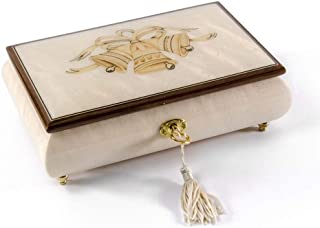 3 Wedding Bells with Ribbon Wood Inlay Ivory 18 Note Musical Jewelry Box - Over 400 Song Choices - Feliz Navidad