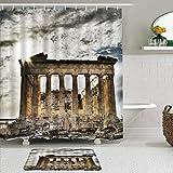 vhg8dweh Juegos de Cortinas de baño con alfombras Antideslizantes, Paisaje de Arquitectura clásica Retro de Roma,con 12 Ganchos