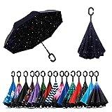 Jooayou Paraguas Invertido de Doble Capa,Paraguas Plegable de Manos Libres Autoportante,Paraguas a Prueba de Viento Anti-UV para la Lluvia del Coche al Aire Iibre (Night Sky)