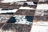 Merinos Kuhfell Imitat Teppich Patchwork Print Teppich in Braun Schwarz Creme Größe 140x200 cm - 4