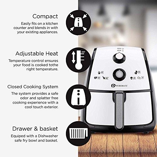PureMate® PM1312 Friteuse Électrique Sans Huile 4L Friteuse Air Chaud Avec Minuteur et Température Réglable pour Frire, Cuire, Rôtir, Griller et Faible en Calories Sans BPA, 1500W