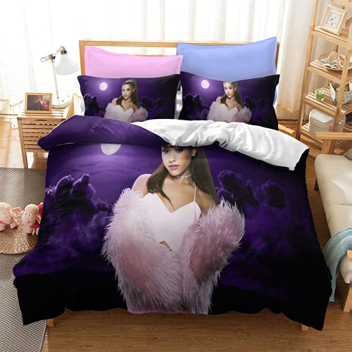 YYXPDD Ariana Grande - Juego de cama con funda nórdica y funda de almohada 100% microfibra, bonito y cómodo (Ariana 2,135 x 200 cm + 80 x 80 cm x 2)