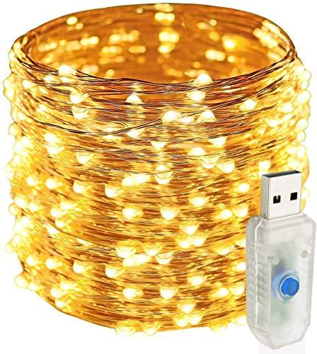 Easternstar Stringa luci filo rame 20M 200 LED catena luminosa interni ed esterno Decorazione con spina per Natale camera festa bianca calda (200LED USB)