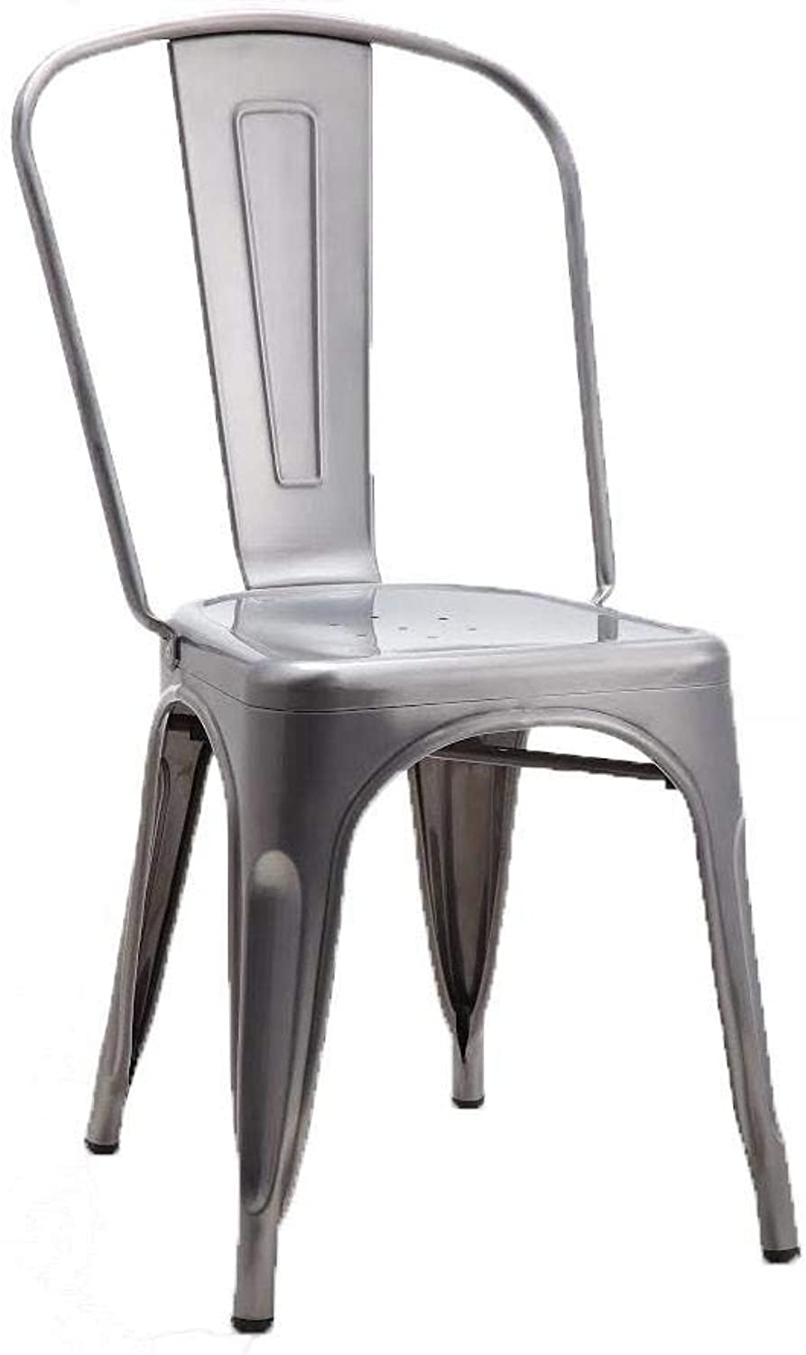 Tolix Style Dining Chair, Brushed Transparent