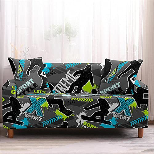 Fundas Sofas 3 y 2 Plazas Ajustables Gris Carbón Azul Negro Fundas para Sofa Spandex Lavables Desmontables Fundas Sofa Elasticas Cubre Sofa Modernas Universal Espesas Funda para Sofa