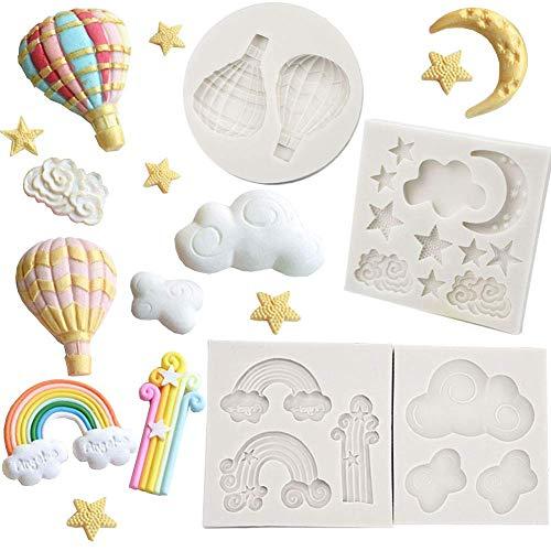 Stampo da forno in silicone per pasta di zucchero e cupcake, motivo luna e nuvola di stelle, in silicone, 4 pezzi