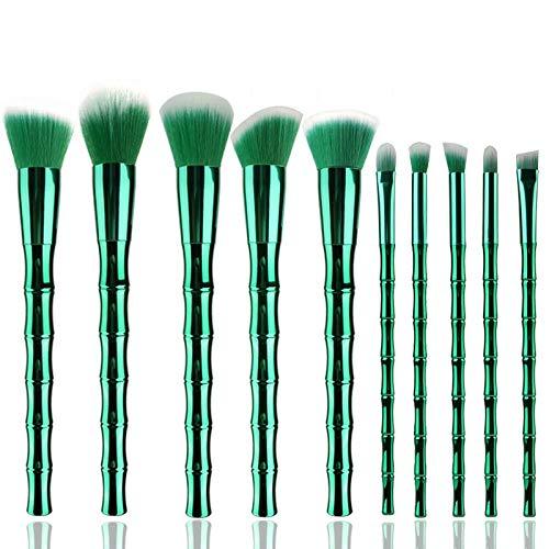 MEISINI Kit de pinceaux à maquillage, poignée de bambou, pinceau à poudre pour les lèvres, fard à paupières, maquillage, outil de kits de brosse, vert