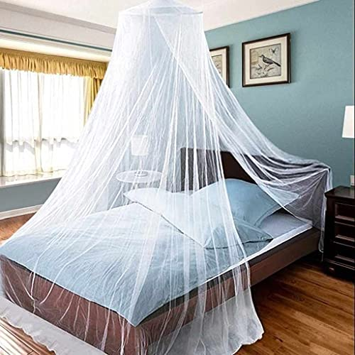 Aifusi Mosquito Net for Bed, King Size Bed Canopy Hanging Curtain Netting, Princess Round Hoop Sheer Bed Canopy for All Kids Baby Cribs and Adult Beds Fit Twin, Full, Queen -White