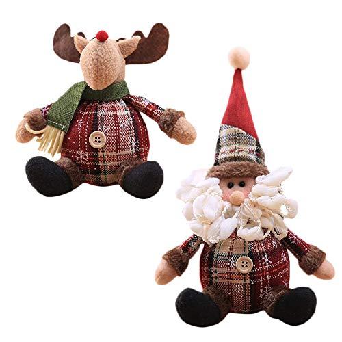 SIMUER 2 Adornos de Árbol de Navidad Muñecos Colgante en Forma de Papá Noel, Renos, para el Árbol de Navidad,...