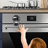 EUDEMON Cerradura de la puerta del horno segura para niños, cerradura frontal del horno resistente al calor, fácil de instalar, use adhesivo 3M, sin tornillos ni brocas (Negro transparente)