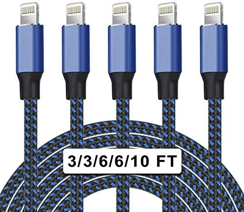 UNEN MFi Certified 5Pack 3 3 6 6 10ft Nylon Braided iPhone Charger Lightning Cable Fast Charging product image