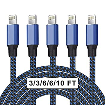 UNEN iPhone Charger Apple MFi Certified 5Pack 3/3/6/6/10ft Nylon Braided Lightning Cable Compatible iPhone12/11Pro Max/11Pro/11/XS/8 More-Black&Blue