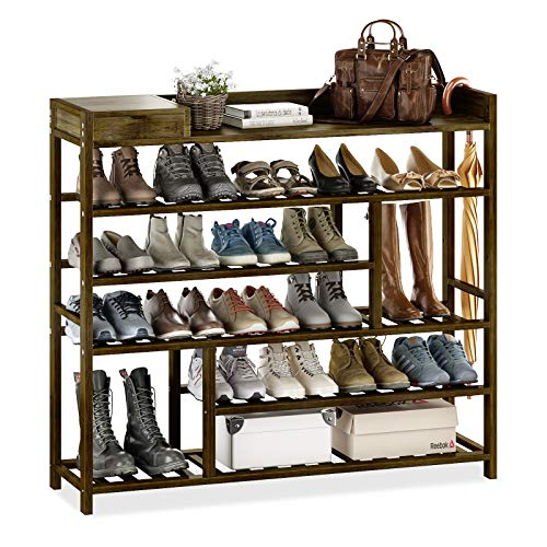 Bamworld Shoes Rack Shelf Organizer Entryway 5 Tier Bamboo for 24 Pair Boots Footwear Book Flowerpots with Storage Box (Brown)