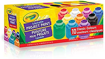 Crayola 54-1205 10 59ml Paint Jars, Assorted Classic Colours, School, Craft, Painting and Art Supplies, Kids, Ages 3,4,...