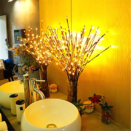 Zweige Lichterzweig beleuchtet Warmweiß 60 LED Weidenzweige künstliche Baumbeleuchtung für die Dekoration des Hauses Deko Batterie YA09049 (Warmweiß, 3 Stücke)