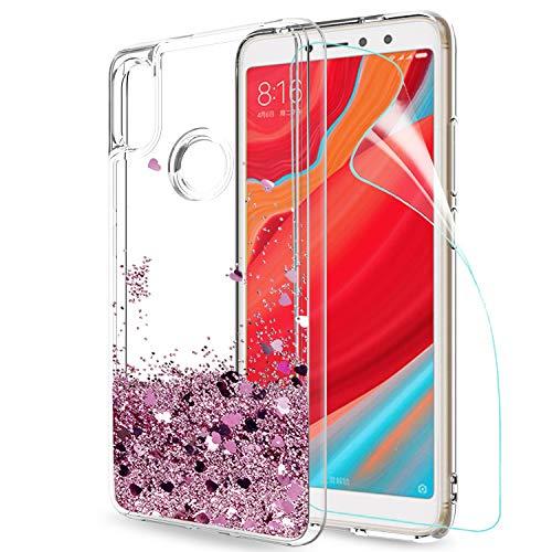 LeYi Funda Xiaomi Redmi S2 / Redmi Y2 Silicona Purpurina Carcasa con HD Protectores de Pantalla,Transparente Cristal Bumper Telefono Gel TPU Fundas Case Cover para Movil Xiaomi Redmi S2 ZX Oro Rosa