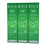 R.O.C.S. Double Mint Toothpaste - Mineralin Complex Formula with Calcium, Bromelain and Xylitol - Best for Removing Plaque and Teeth Enamel Strengthening - Complete Care and Protection - Fresh Breath