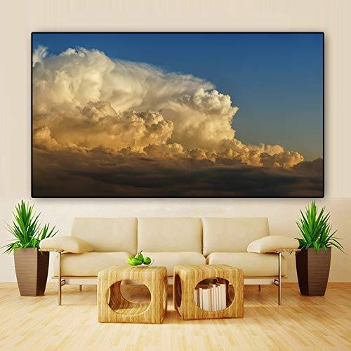 ganlanshu Rahmenlose Malerei Gewitter Wandbild Poster Landschaft Wandbild Wohnzimmer HauptdekorationZGQ4618 60X100cm