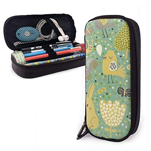 shenguang Animal Cute Pen Pencil Case Leather 8 X 3.5 X 1.5 Inch Pouch Bag Pencil Case with Double Zipper Holder Box for School Office Girls Boys Adults