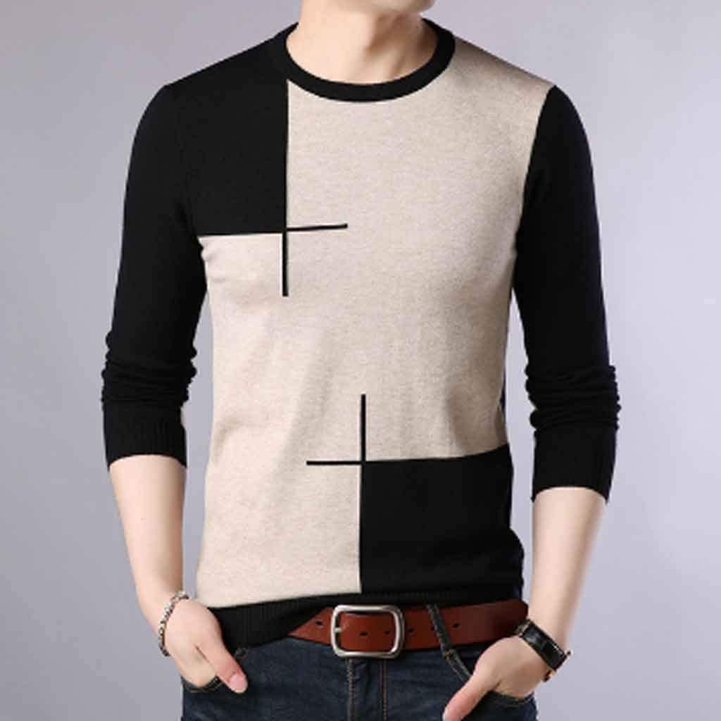 ZYING Autumn Casual Men's Sweater Neck Slim Fit Knittwear Mens Sweaters Pullovers Pullover Men Homme (Color : XXL Code)