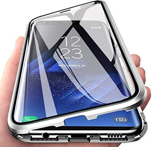 Aest Cover per Samsung Galaxy S21 Adsorbimento Magnetico Custodia 360 Gradi Protezione Doppi Lati Vetro Temperato Ultra Sottile Telaio Alluminio Metallo Case - Argento