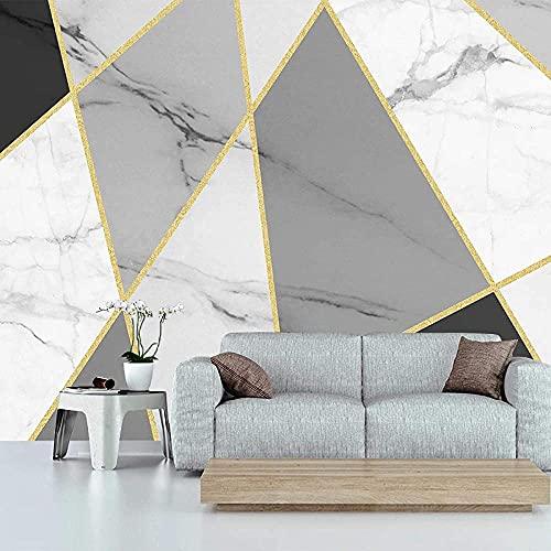 Líneas doradas Geometría Textura de mármol Papel tapiz de la puerta Imágenes de la pared Decoración de la pare Pared Pintado Papel tapiz 3D Decoración dormitorio Fotomural sala sofá mural-300cm×210cm