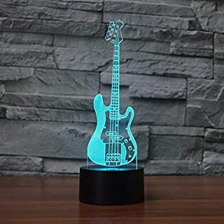 SUPERIORVZND 3D Bass Guitar Night Light Touch Table Desk Optical Illusion Lamps 7 Color Changing Lights Home Decoration Xmas Birthday Gift