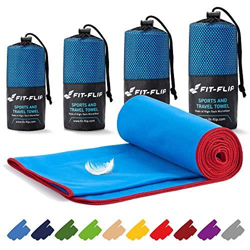 Fit-Flip Mikrofaser Handtuch Set – in Allen Größen / 16 Farben – Ultra leicht & kompakt – das perfekte Sporthandtuch, Strandhandtuch und Reisehandtuch (100x200cm, Blau mit Roten Rand)