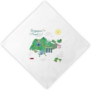 Diythinker Singapore Travel Map Dinner Napkins Lunch White Reusable Cloth 2Pcs