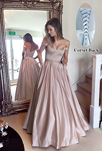 Harsuccting Off The Shoulder Beaded Satin Evening Prom Dress With Pocket Blush Pink 2